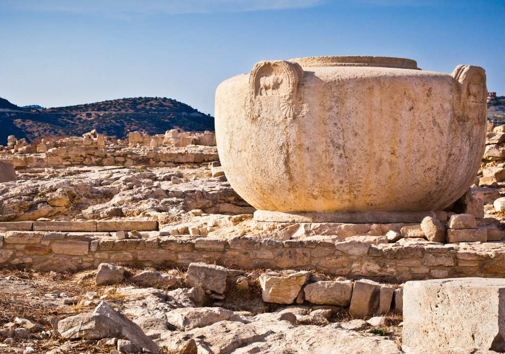 Ancient Stone Jug set in an ancient Cyprus ruin