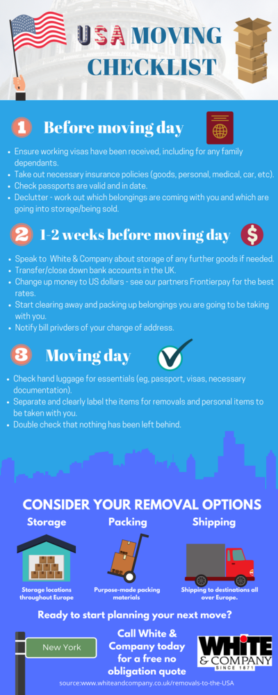 Removals to the USA Moving Checklist Infographic