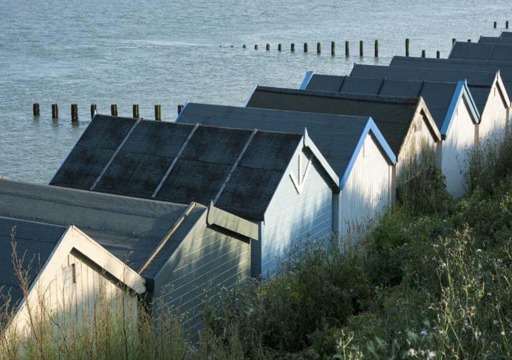 Row of beach huts Clacton on Sea