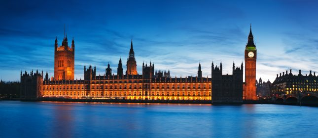 Night view of Houses of Parliament.
