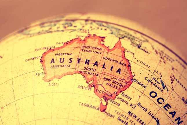 Australia on atlas world map