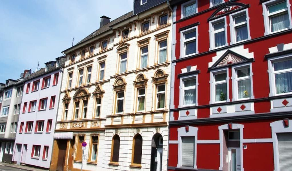 Essen street scene with coloured 4 storey buildings