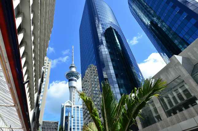 The Sky tower in Auckland New Zealand cityscape.