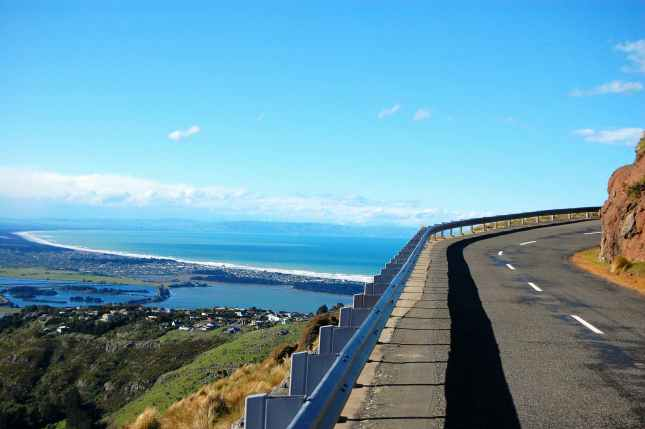 Road turn ocean view Christchurch, New Zealand