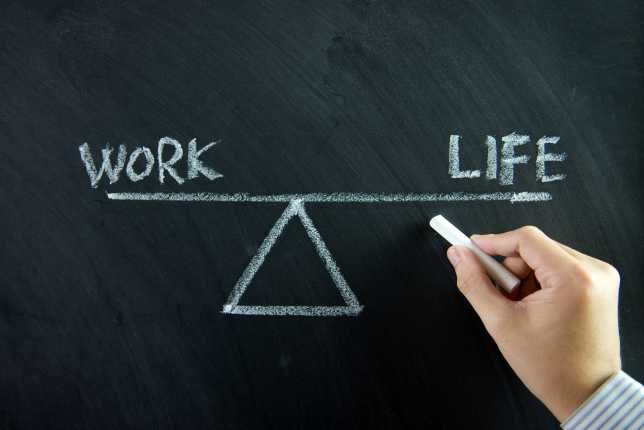 Work and life balance written on chalkboard