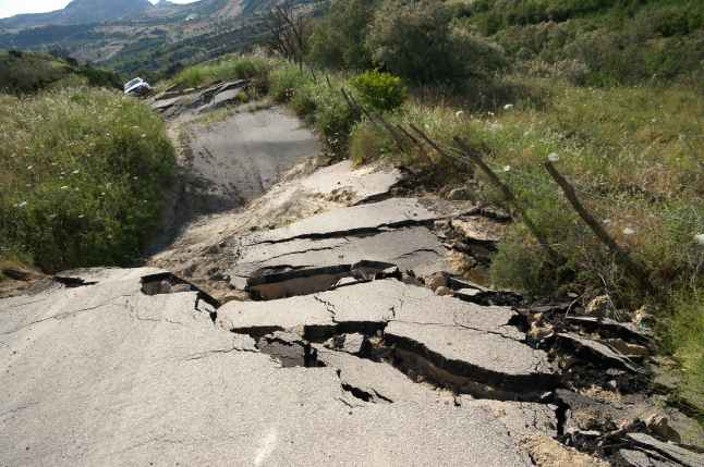 Road shattered due to earthquake