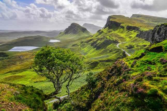 Scenic view of Quiraing mountains in Isle of Skye, Scottish high