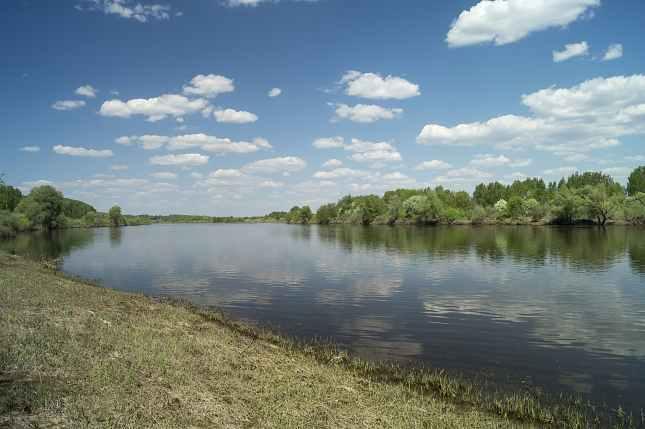 Spring landscape with river