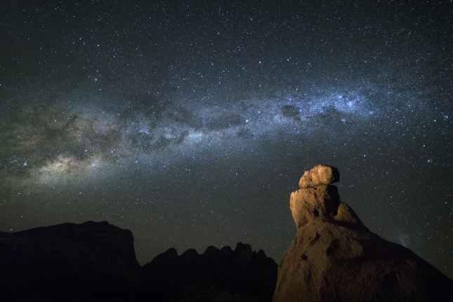 Stars at night on mountain