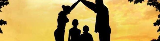 Silhouette of happy family