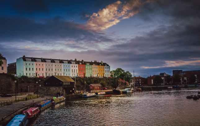 Colorful homes in Bristol harbor