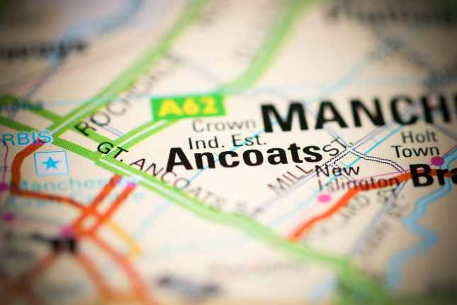 Ancoats on a geographical map of UK