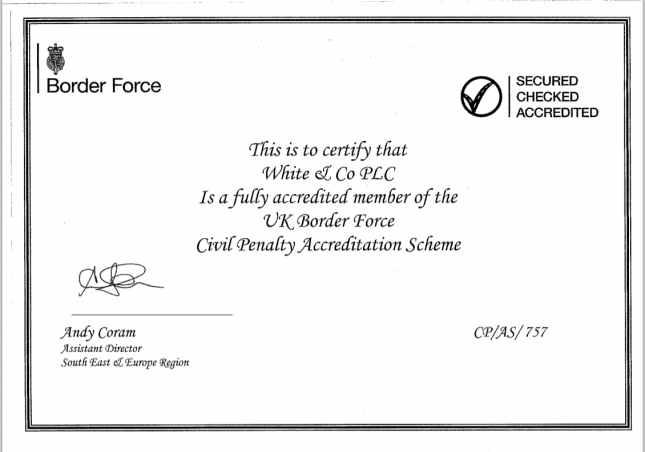 UK Border Force Civil Penalty Accreditation Scheme Certificate