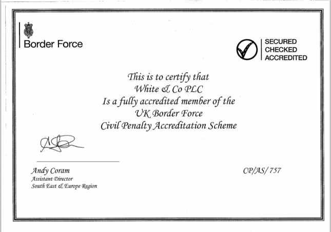 UK Border Force Civil Penalty Accreditation Scheme Certificate