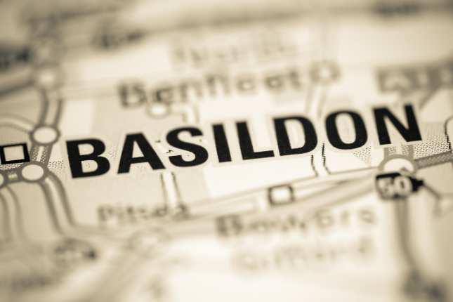 Basildon. United Kingdom on a geography map