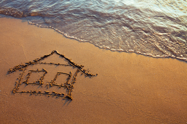 House drawn in sand