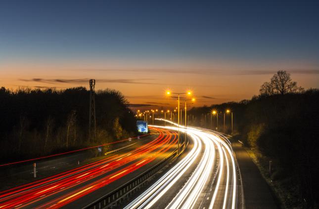 Motorway light trail