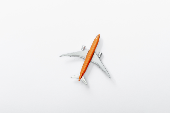 Plane with a white background