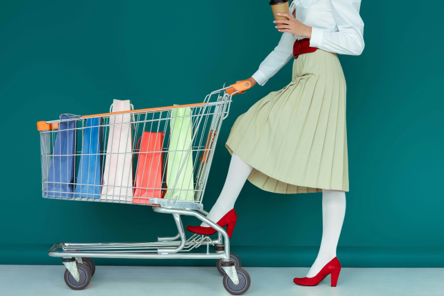 Shopping bags in trolley
