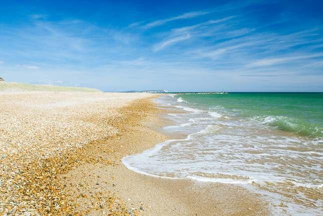 Bournemouth beach and cliffs, North sea, UK